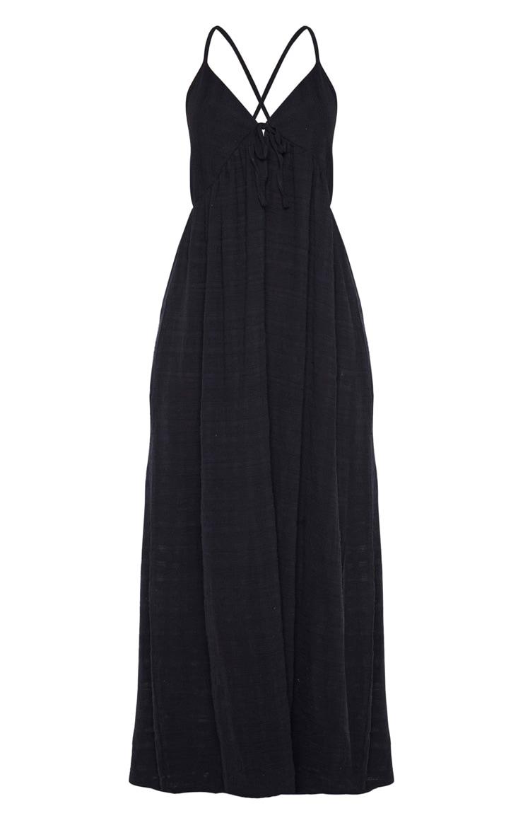 Robe de plage longue noire en coton texturée 3