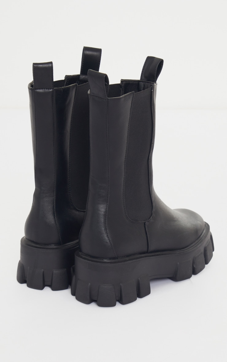 Black Wide Fit Extreme Chunky Sole Calf High Chelsea Boots 4