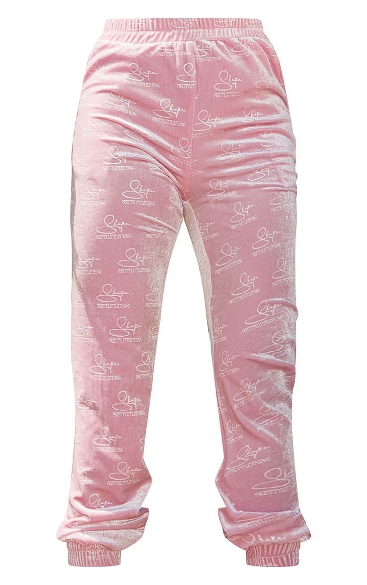 PRETTYLITTLETHING Shape Baby Pink Embossed Velour Joggers 5