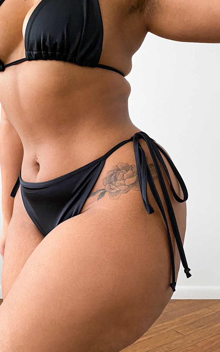 Plus Black Mix & Match Adjustable Tie Side Bikini Bottom 4