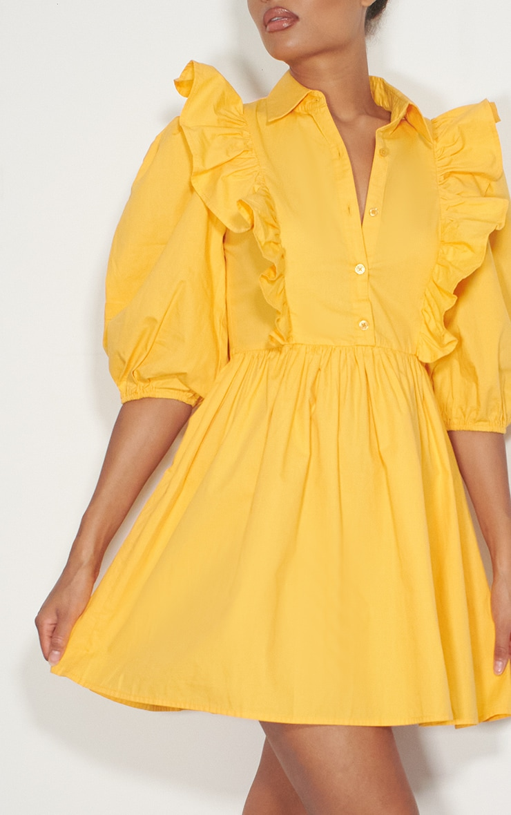 Yellow Ruffle Detail Puff Sleeve Smock Shirt Dress 4