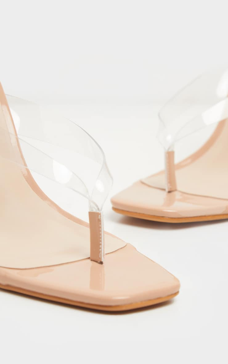 Clear Toe Thong Square Toe Heeled Sandals 4