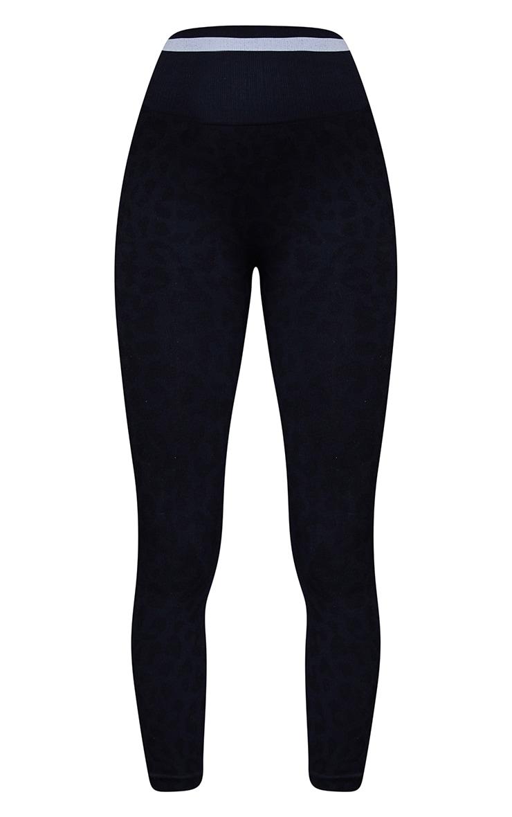 Black Seamless Leopard Stripe Detail Gym Legging 5