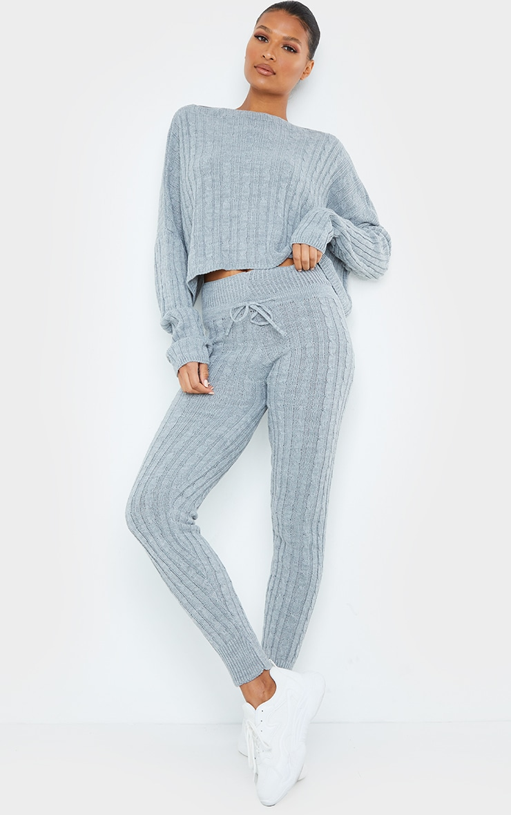 Grey Cable Knit Crop Jumper & Legging Set 1