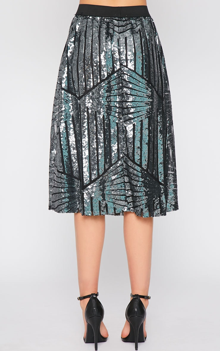 Amelia Silver Sequin Pattern A Line Skirt  2
