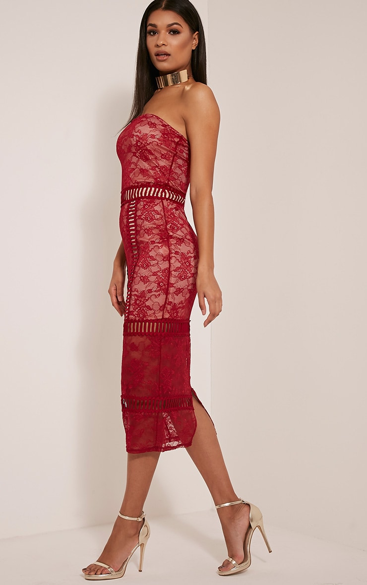 Megan Red Ladder Panel Lace Midi Dress 4