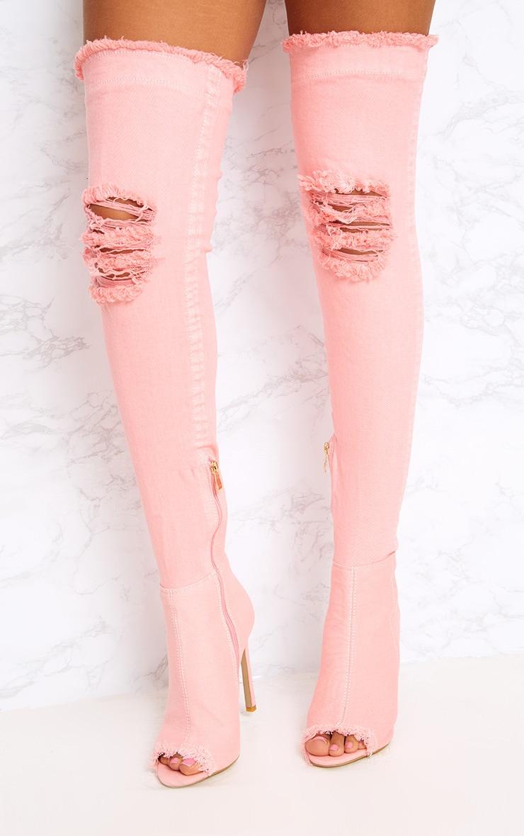 Pink Distressed Denim Thigh Boots 2