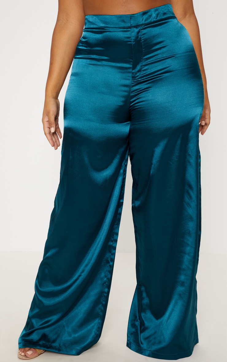 Plus Teal Satin Wide Leg Pants 2