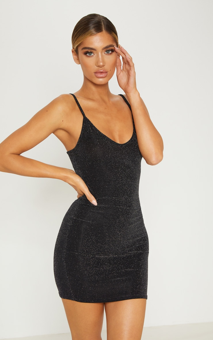 Black Sheer Strappy Textured Glitter Bodycon Dress 1