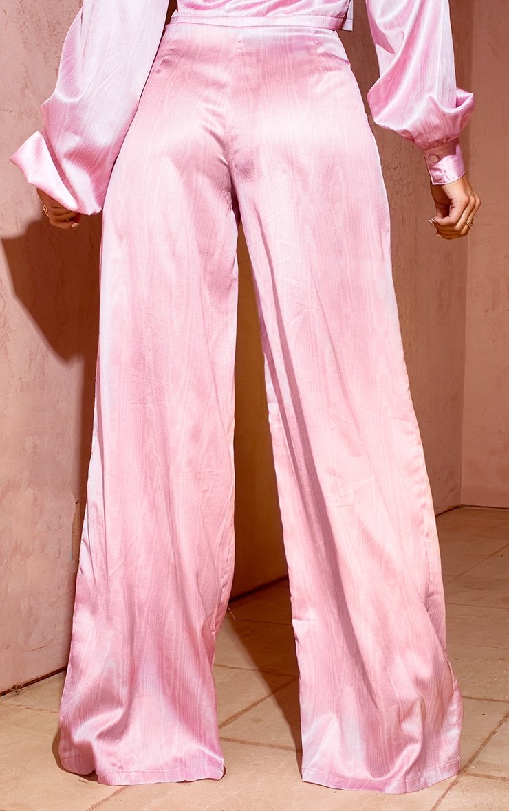 Pink Satin Taffeta Print Wide Leg Trousers 3