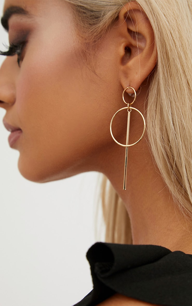Gold Double Circle Bar Earrings 3