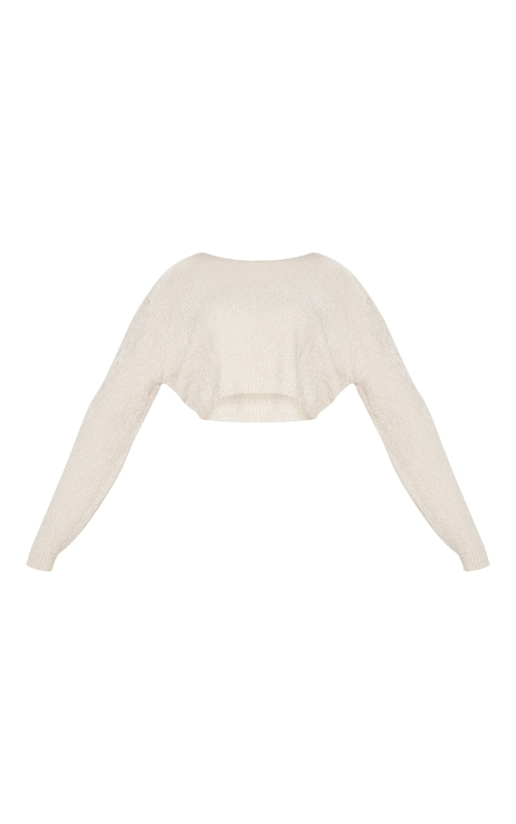 Cream Chenille Cropped Knitted Sweater  3