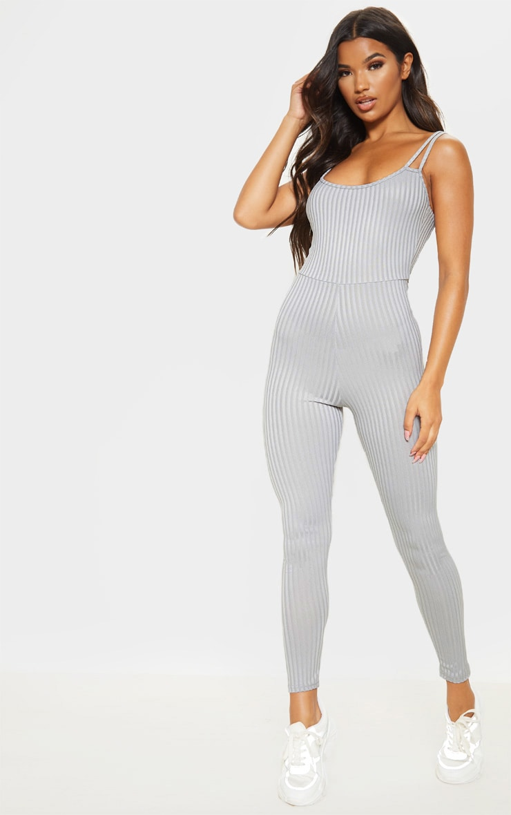 Grey Rib Double Strap Jumpsuit 1