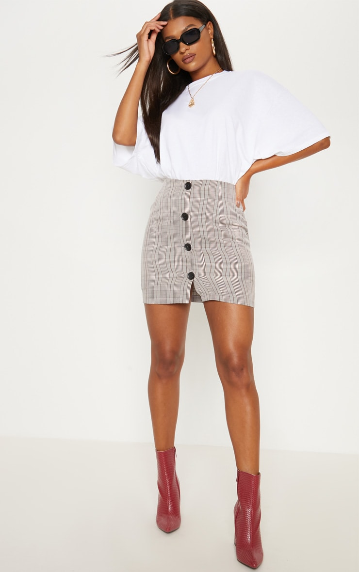 Brown Check Button Up High Waisted Skirt 5