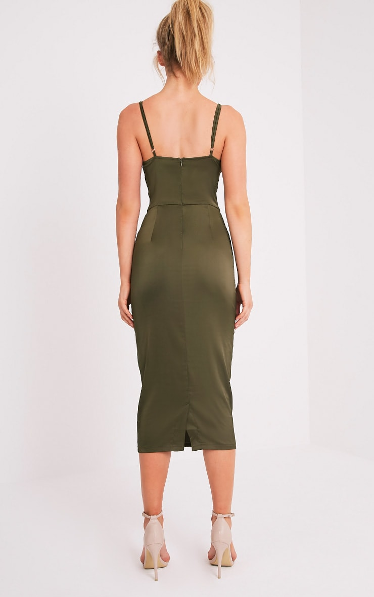 Aisha Khaki Satin Panel Midi Dress 2
