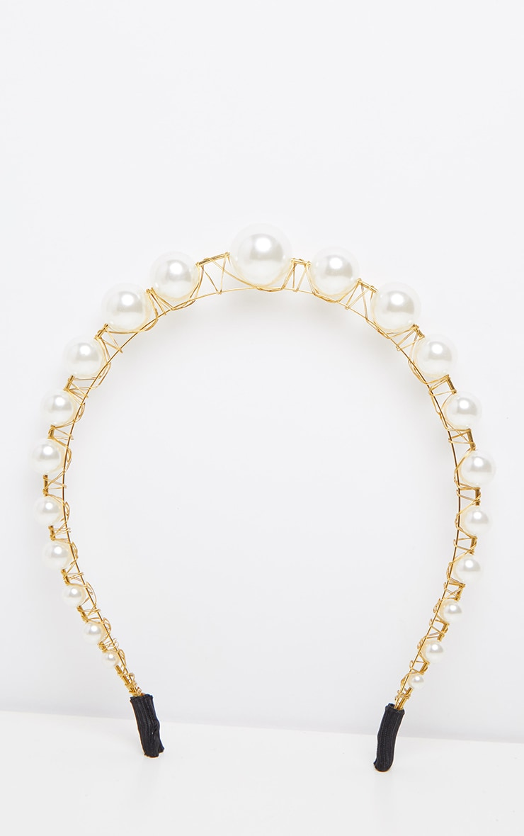 Gold Raised Pearl Headband 2