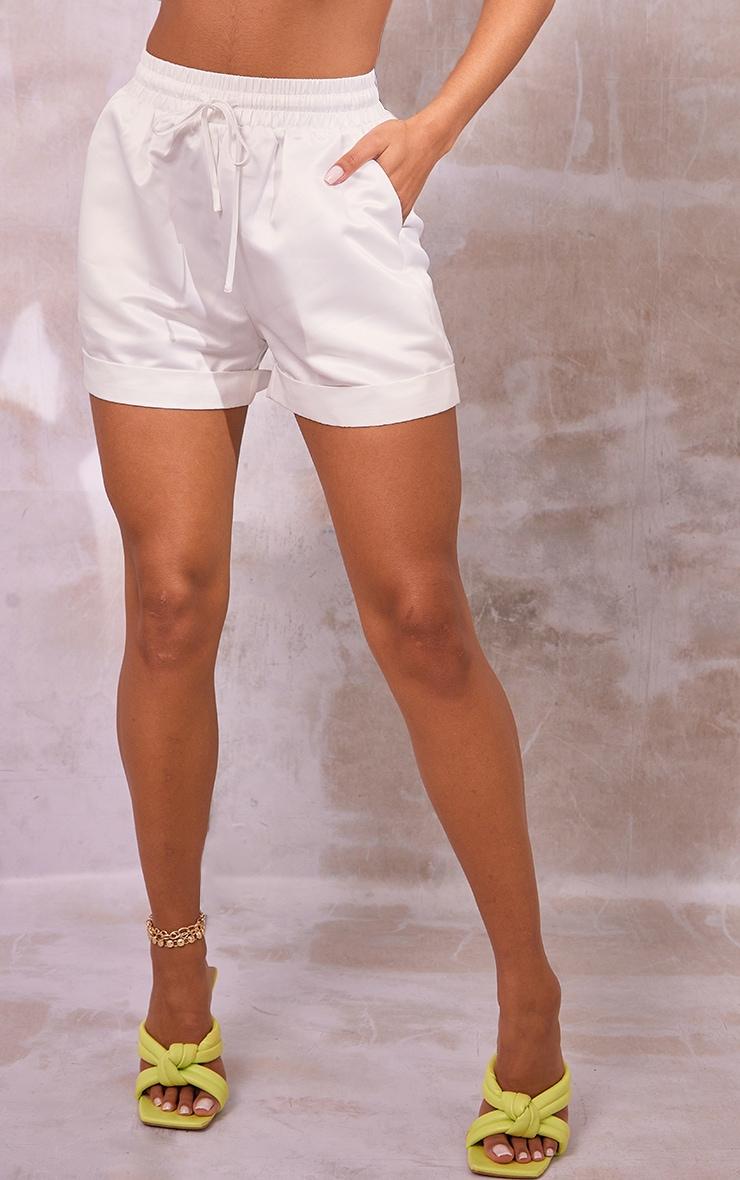 White Satin Turn Up Hem Floaty Shorts 2