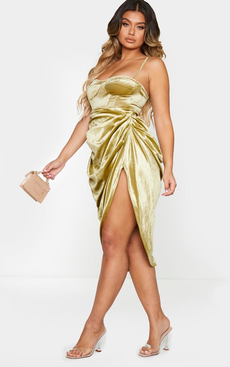 Olive Velvet Ruched Side Midi Skirt 1