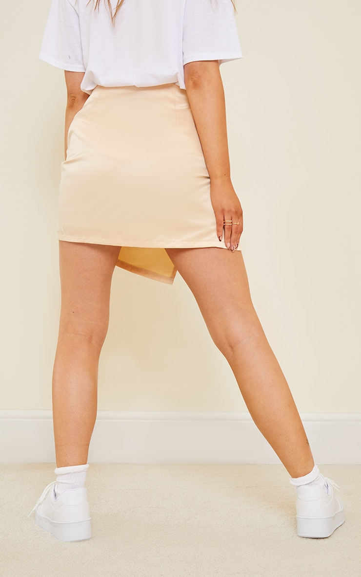 Champagne Tailored Satin Split Front Mini Skirt 3