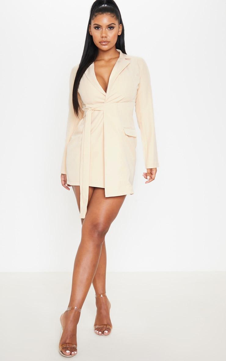 Nude Tie Detail Blazer Dress 4