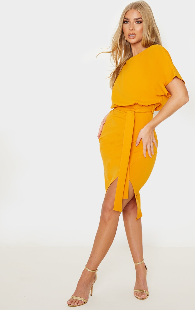 Mustard Wrap Front Kimono Sleeve Midi Dress 4