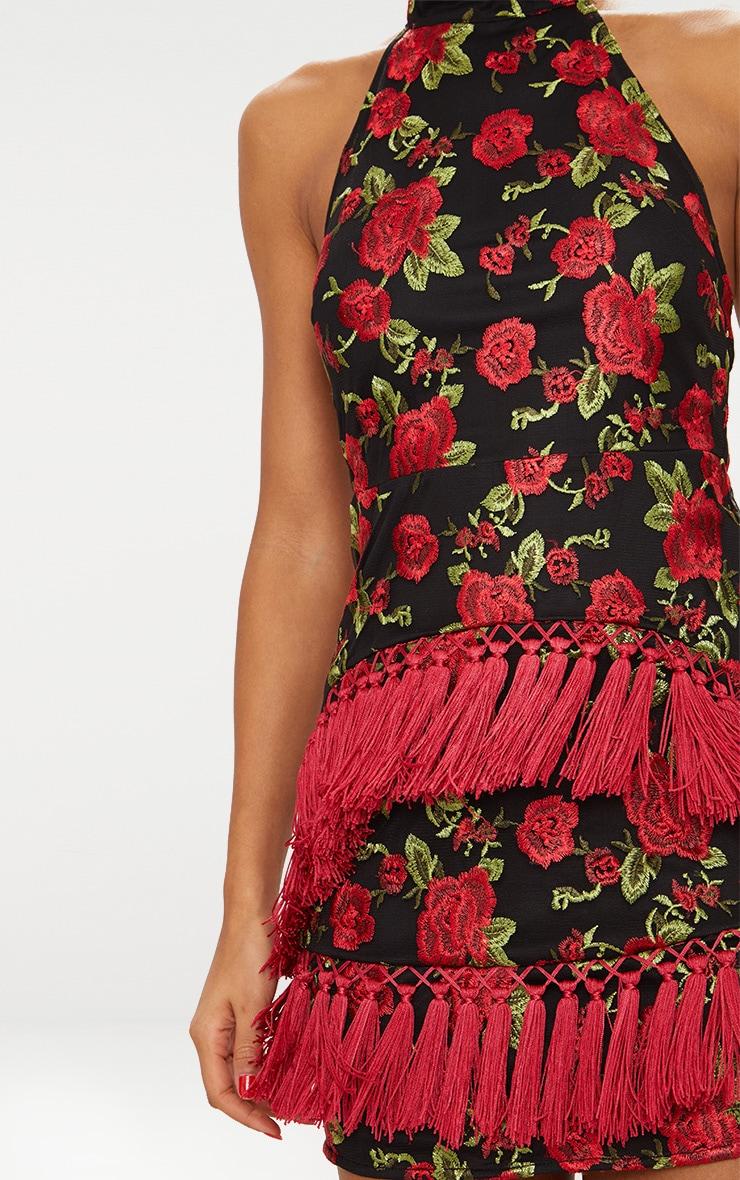 Black Floral Embroidered Tassel Trim Halterneck Bodycon Dress 6