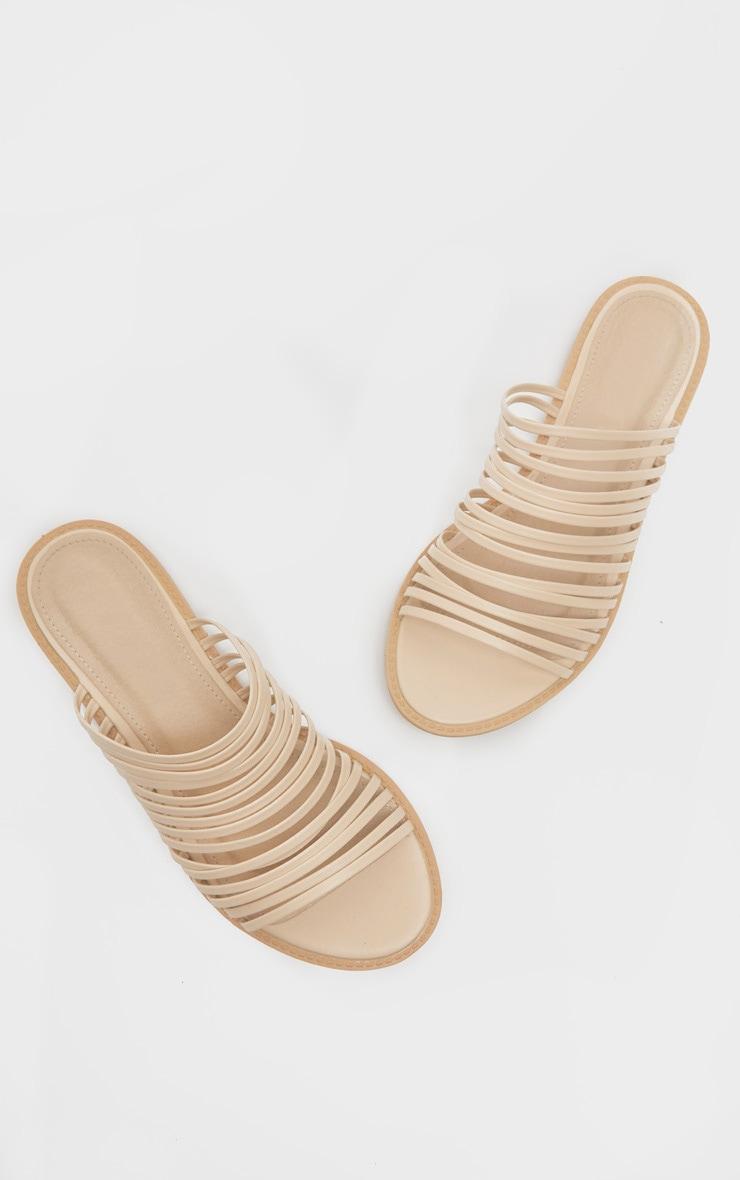 Nude Strappy Mule Flat Sandal 3
