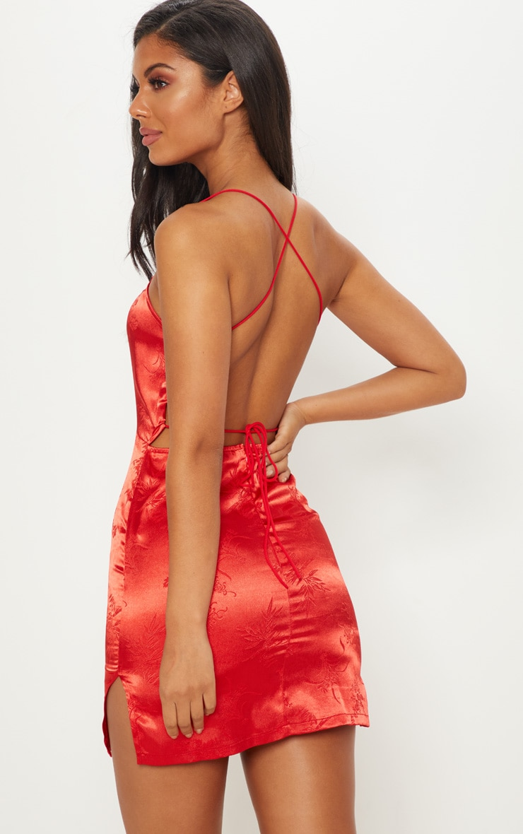 Red Satin Oriental Lace Up Back Bodycon Dress 2