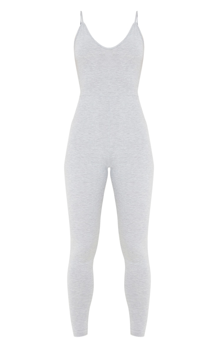 Grey Marl Basic Strappy Plunge Jumpsuit 3