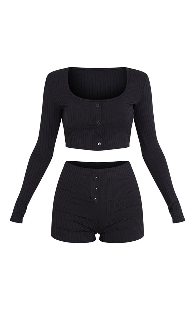 Black Rib Long Sleeve Crop And Boxer Shorts PJ Set 5