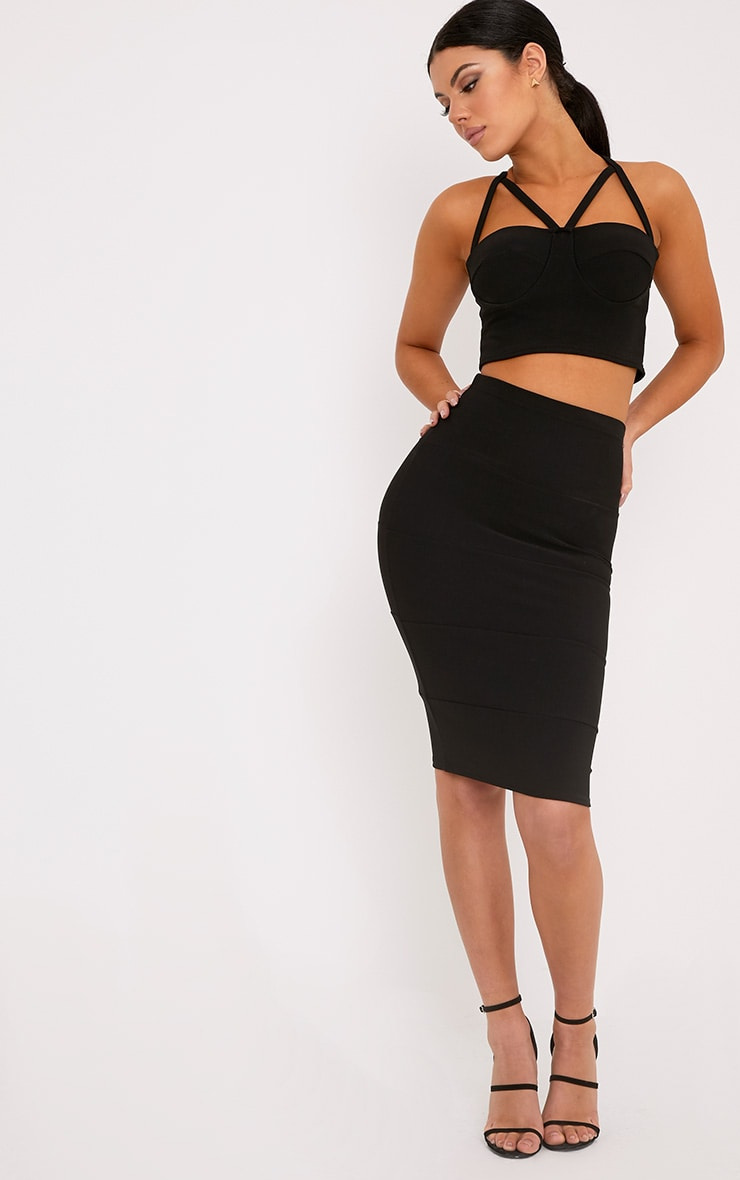 Lindy Black Bandage Panelled Midi Skirt 1