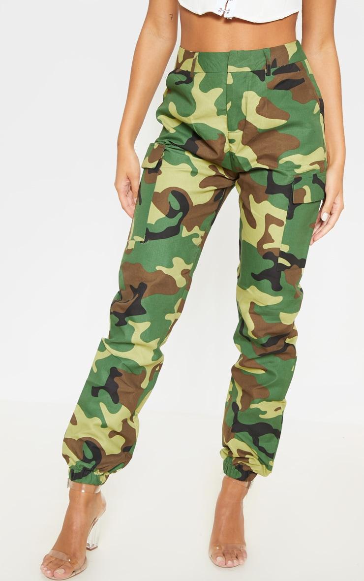 Pantalon cargo kaki imprimé camouflage 2