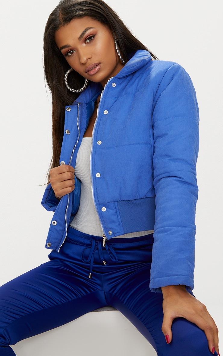 Cobalt Peach Skin Cropped Puffer Jacket 1