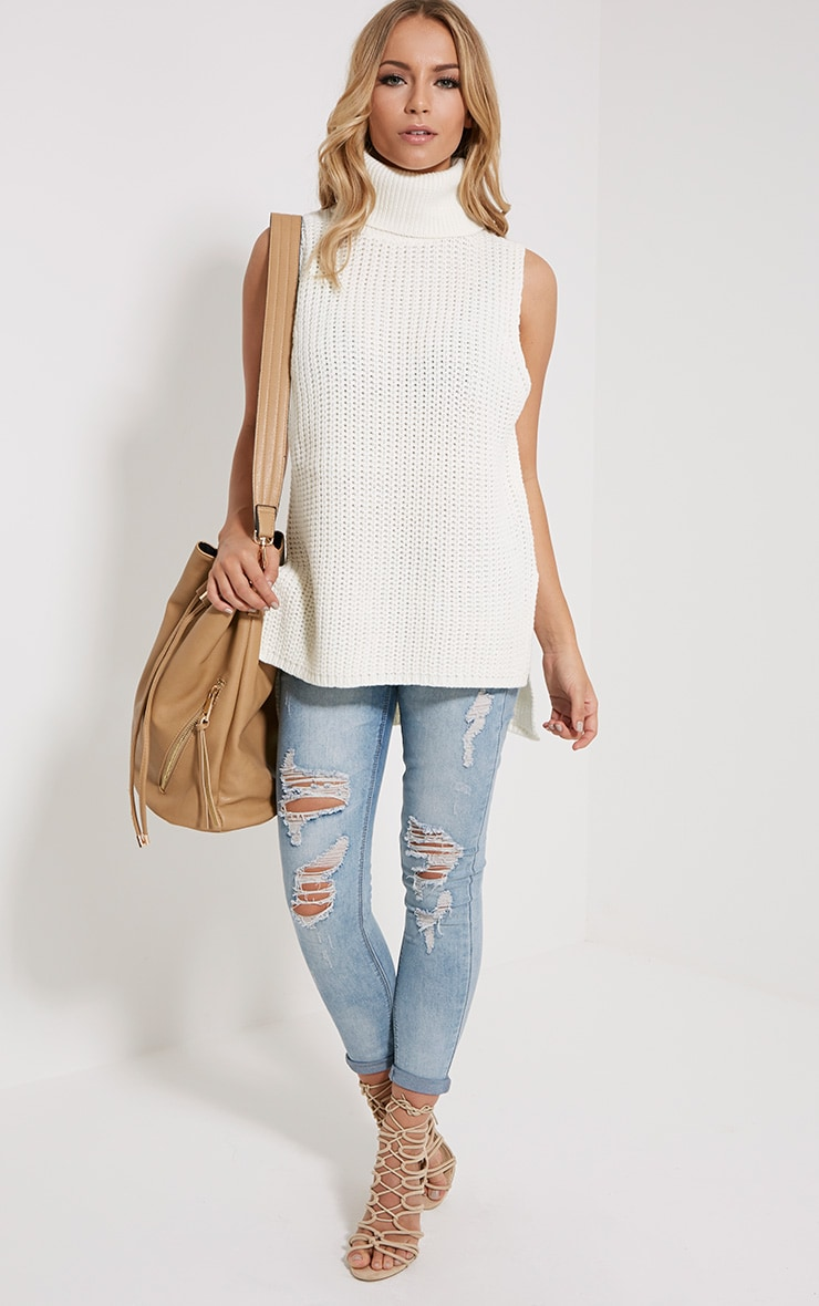 Lolla Cream Knitted Roll Neck Top 3