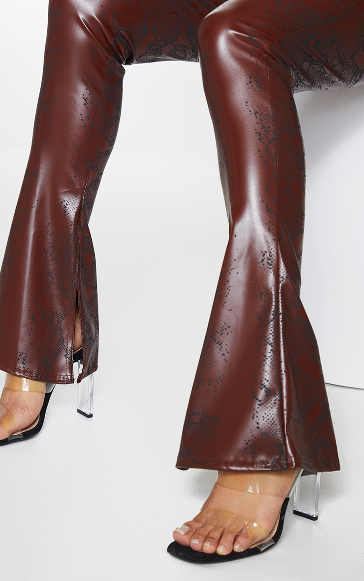 Chocolate Snake Faux Leather Kick Flare Skinny Trousers 4
