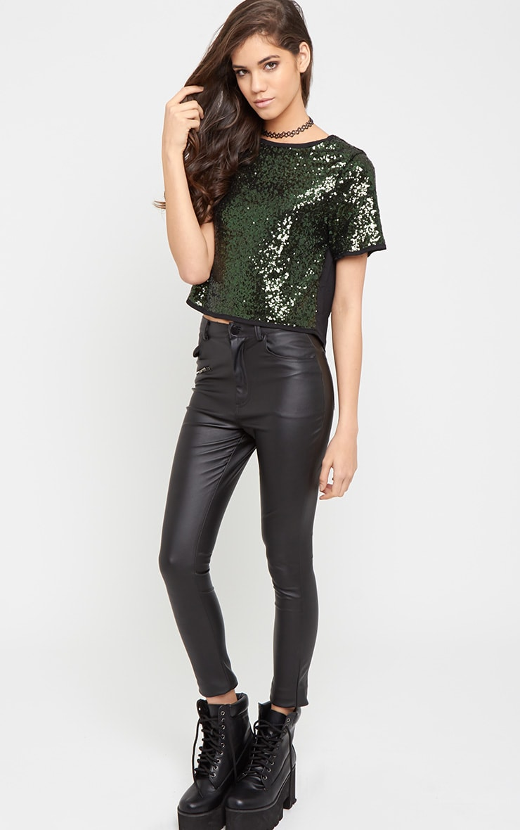 Diya Green Sequin Crop Tee 4
