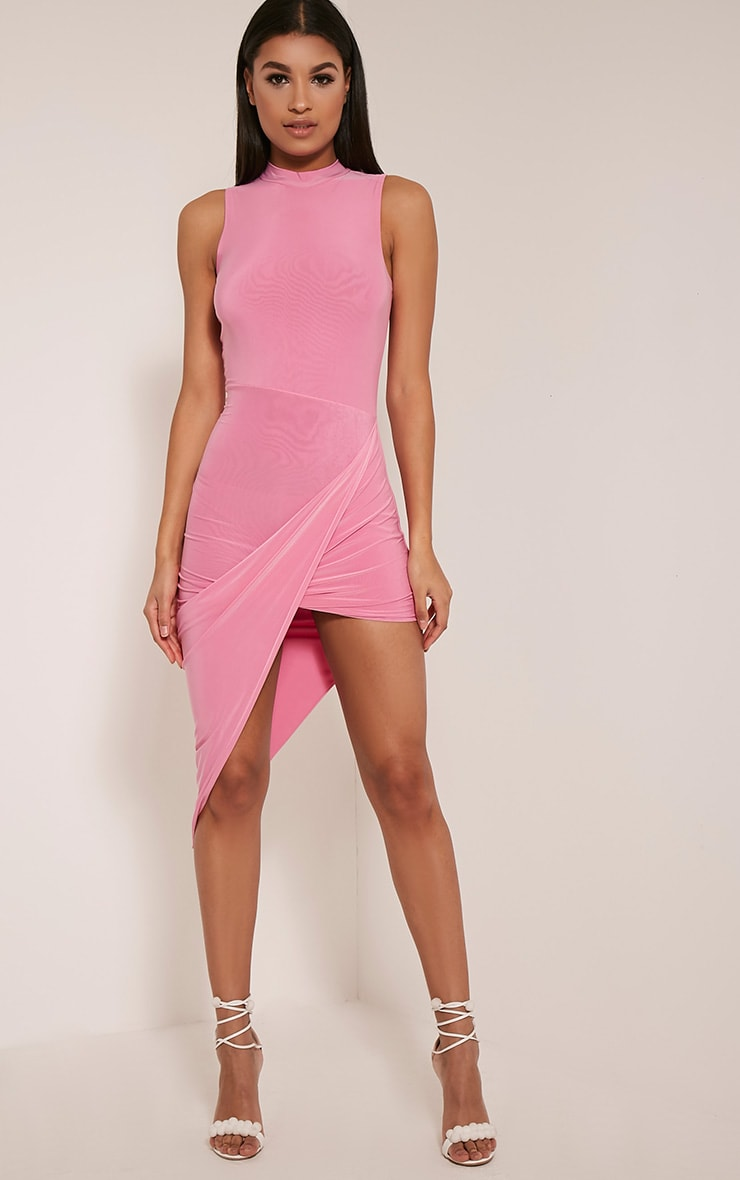 Prim Bubblegum Pink Slinky Drape Asymmetric Dress 1