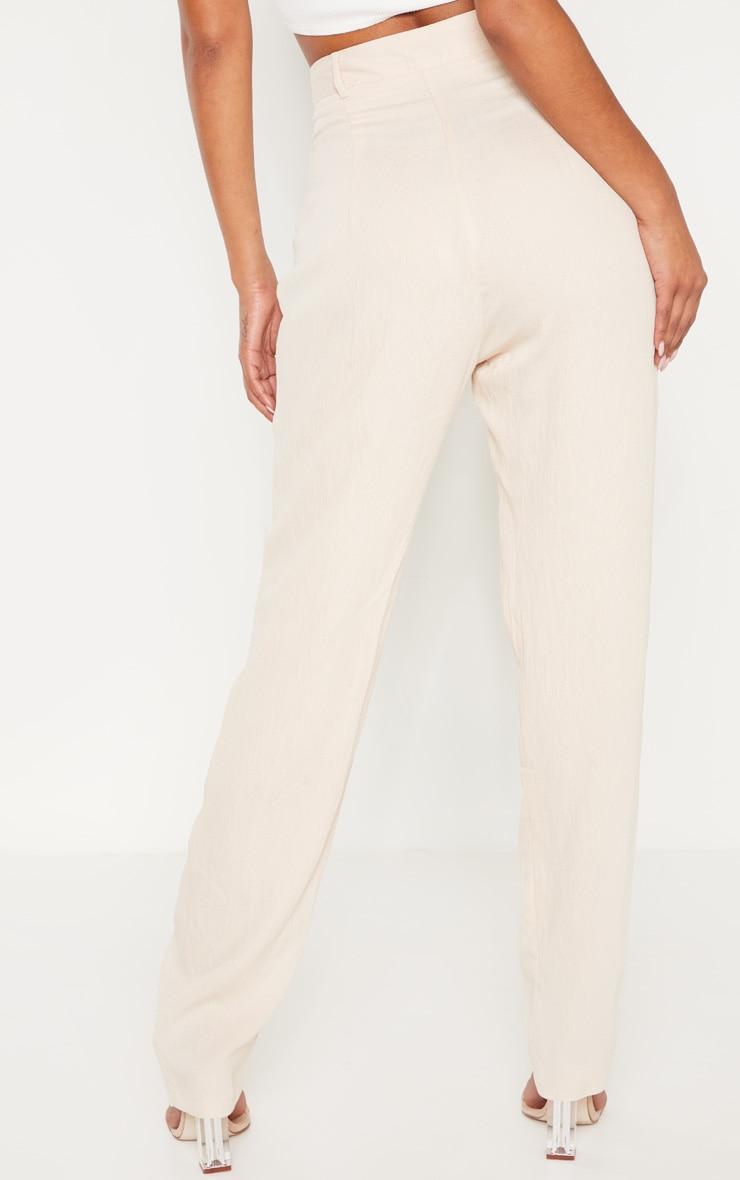 Stone Linen Mix Button Front Straight Leg Pants 4