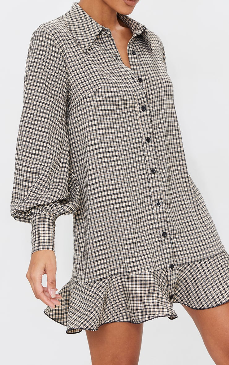 Stone Check Frill Hem Shirt Dress 4