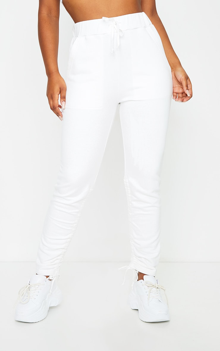 White Ruched Leg Joggers 3