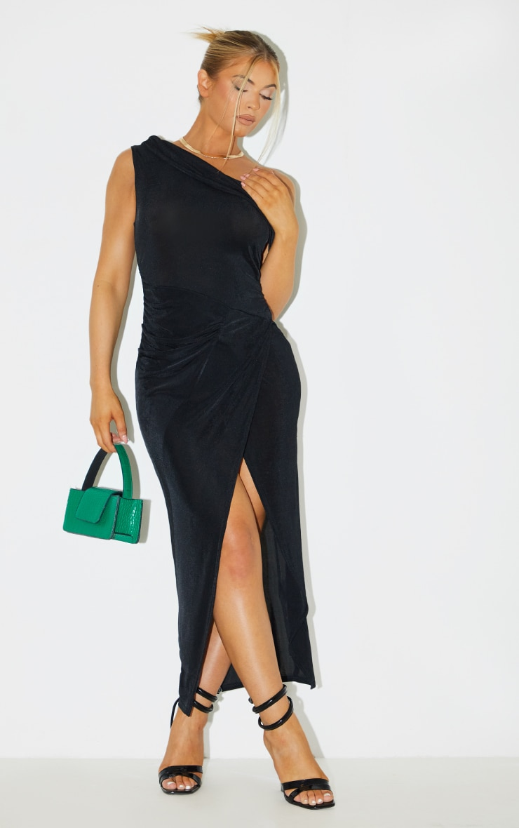 Black Recycled Textured Slinky Off Shoulder Midaxi Dress 1