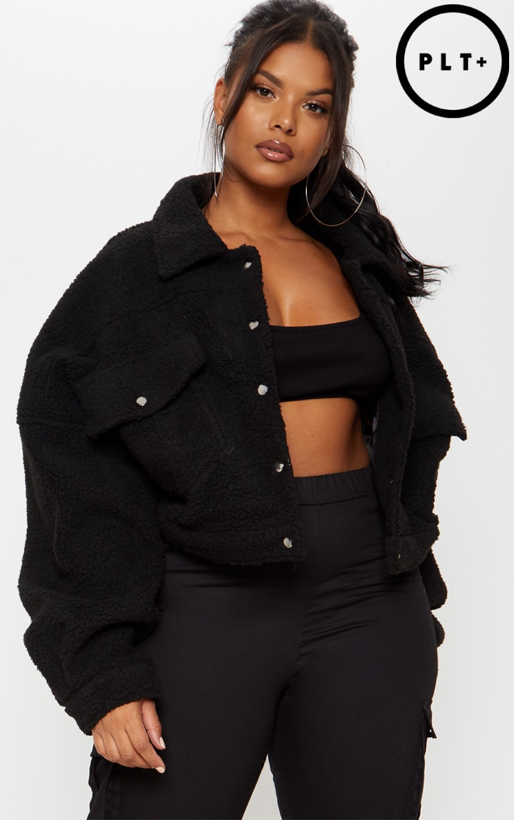 Plus Black Cropped Borg Trucker Jacket