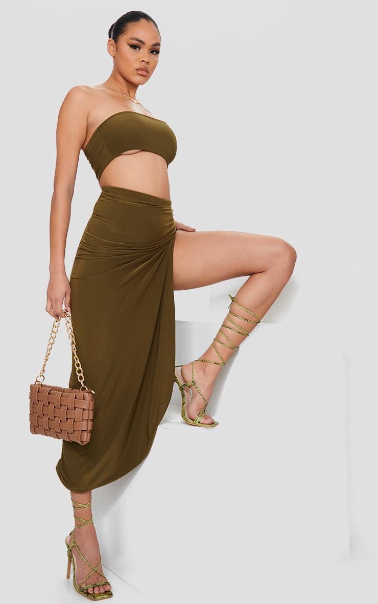 Khaki Slinky Ruched Side Split Split Midaxi Skirt 1