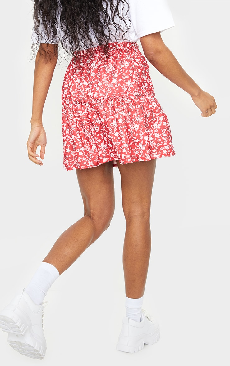 Red Ditsy Floral Tie Waist Ruffle Skirt 3