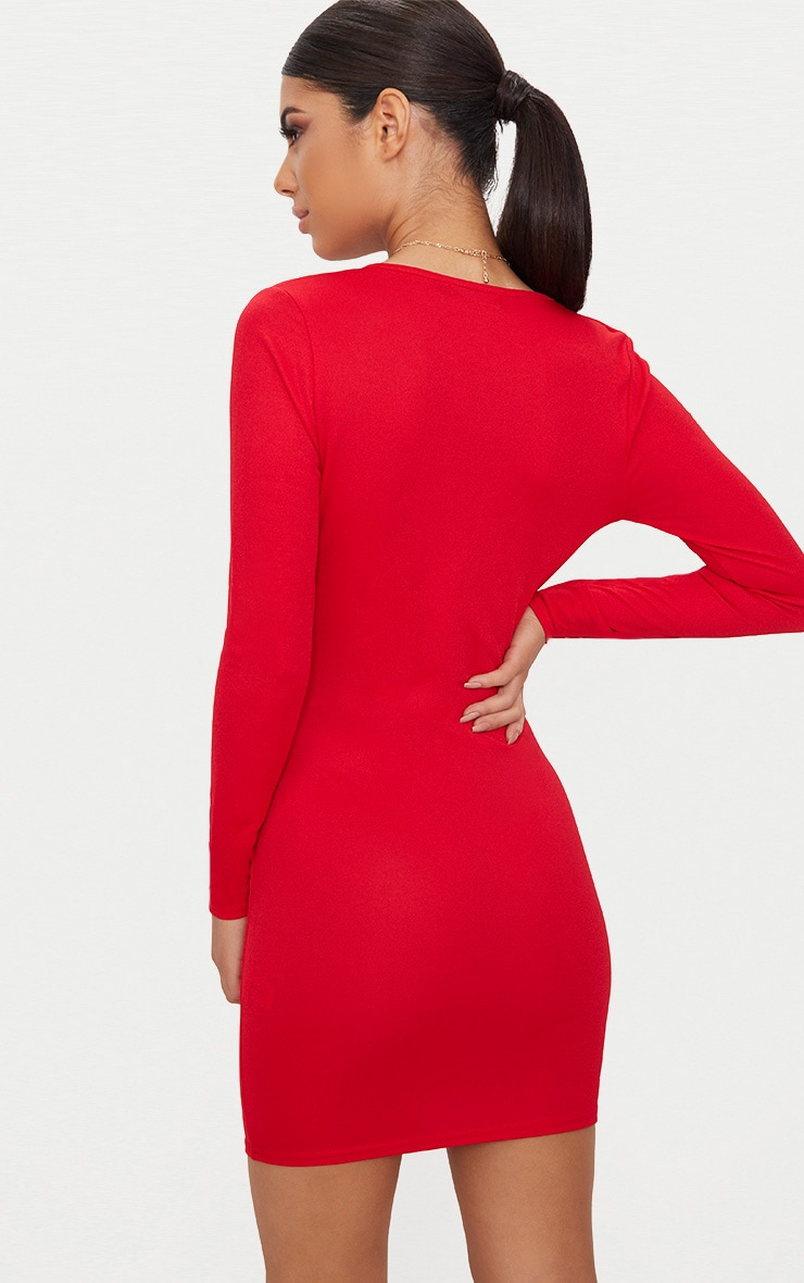 Red Long Sleeve Plunge Bodycon Dress 2