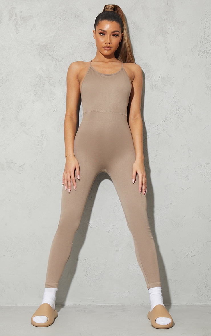 Taupe High Neck Strappy Back Seamless Unitard 3