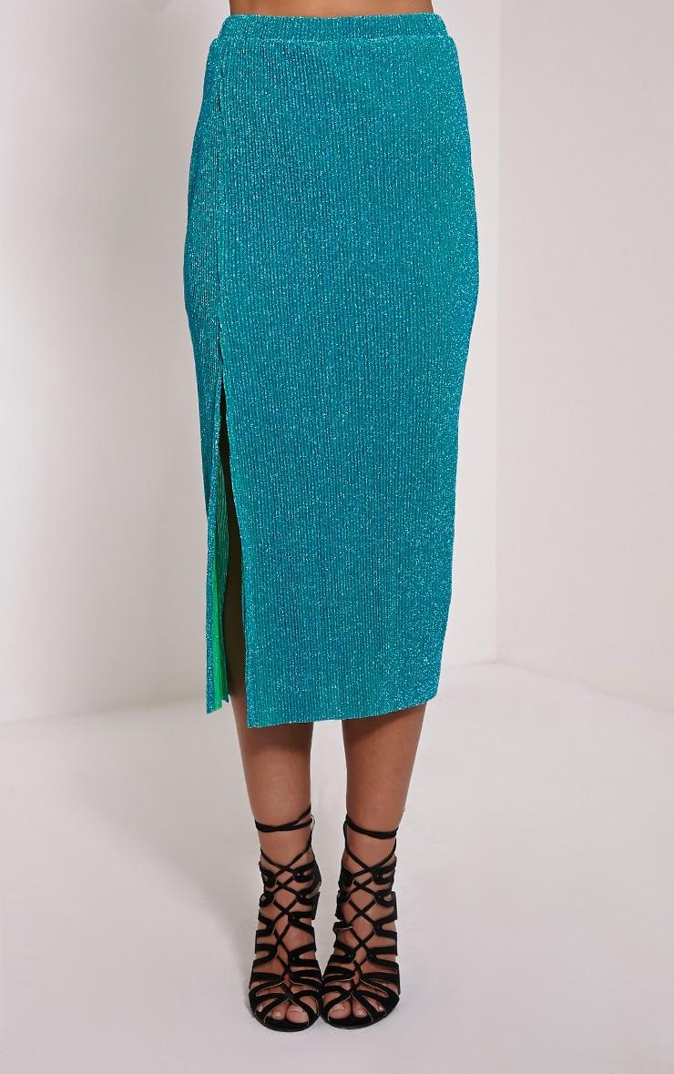 Sira Turquoise Glitter Split Front Ribbed Midi Skirt 3