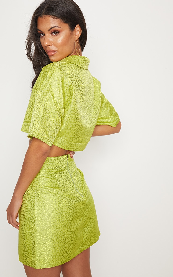 Lime Green Jacquard Ring Pull Crop Top 3