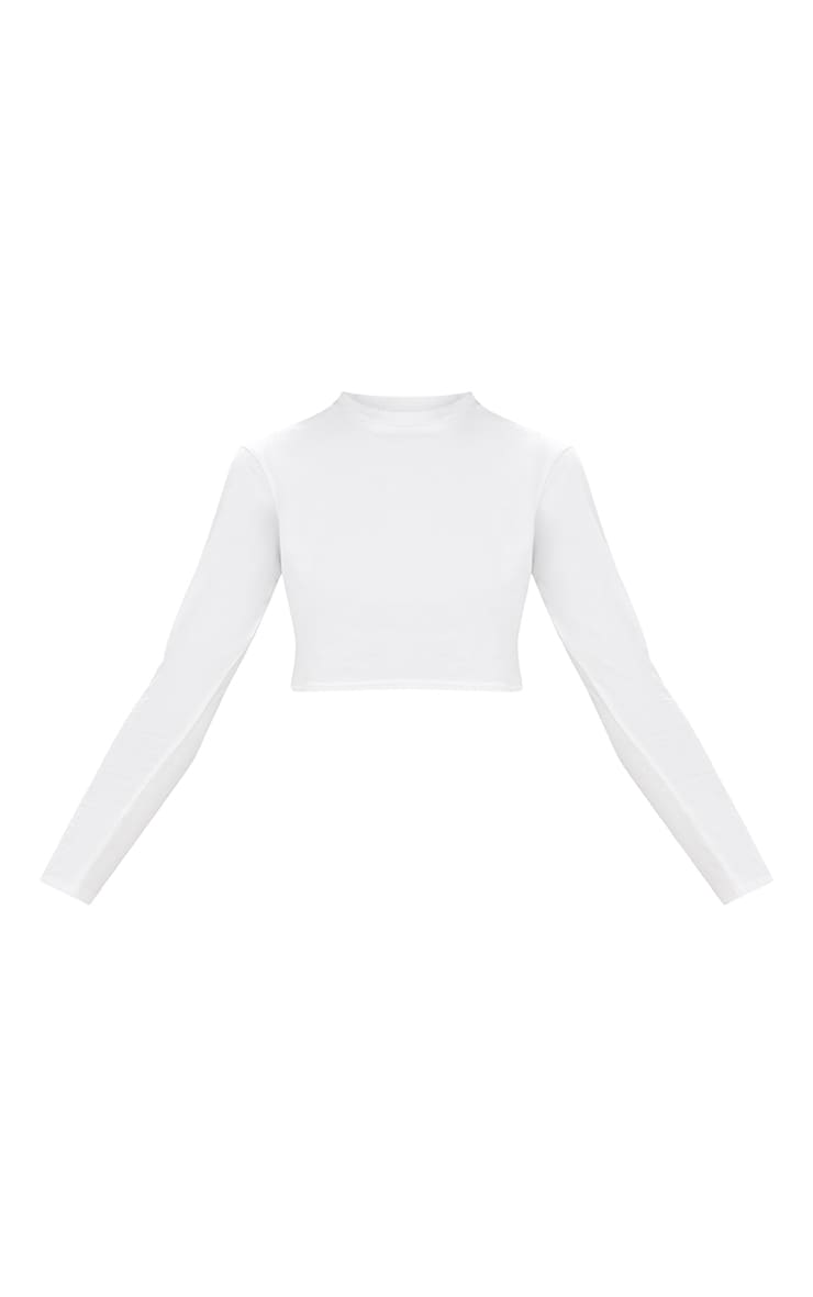 White Distressed Burn Out Back Longsleeve Crop Top 3
