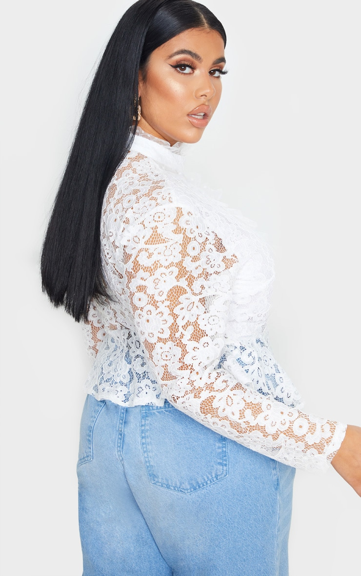 Plus White Laced High Neck Blouse 2